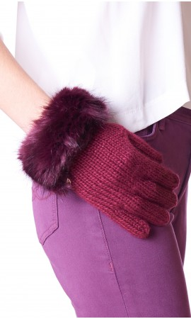 GLOVES WITH ECOFUR TRUSSARDI JEANS BORDEAUX