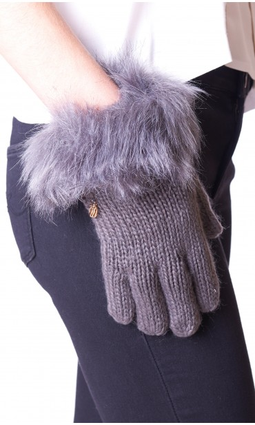 GLOVES WITH ECOFUR TRUSSARDI JEANS GREY