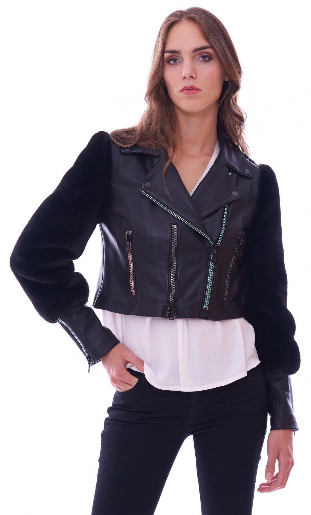 13b9725a22ed Women s biker leather jacket Trussardi Jeans with ecofur 56S00209