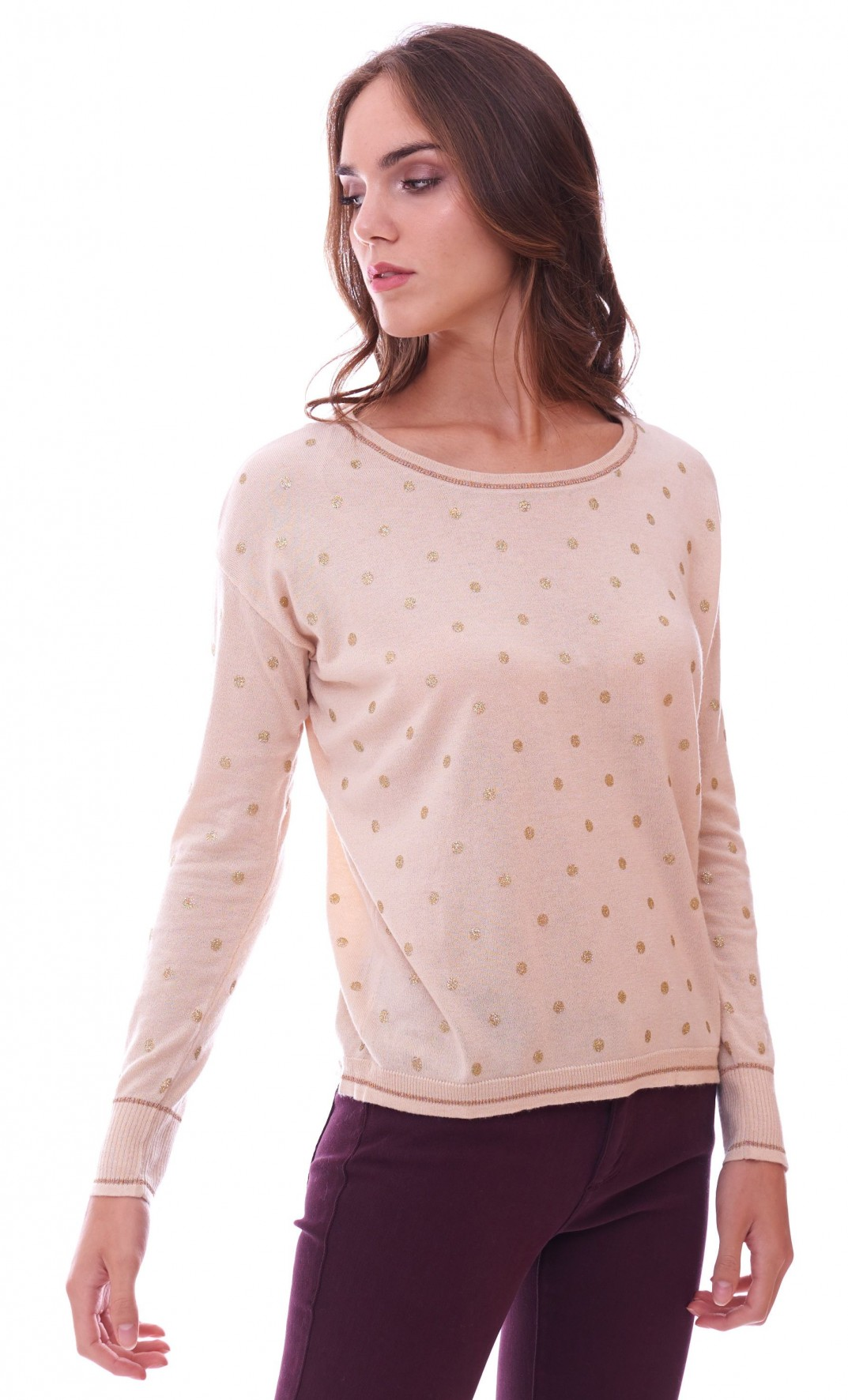 Beige Trui Met Glitters.Women S Beige Sweater Luckylu With Glitter Pois Ma06po
