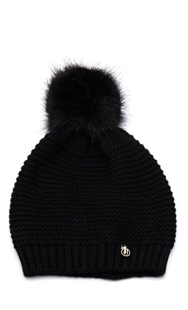 Cappello Trussardi Jeans nero da donna con pon pon e logo ... | 370 x 617 jpeg 27kB