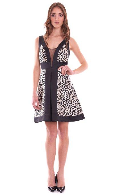 SHORT DRESS MISCHALIS BLACK AND WHITE