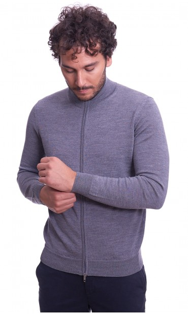 MERINO WOOL FULL ZIP SWEATER BROWN'S