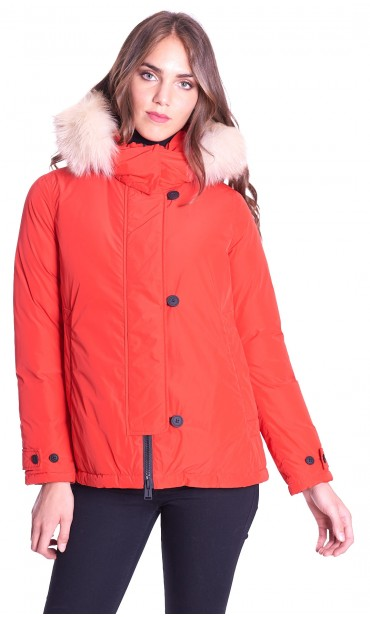 HOODED SHORT DOWN JACKET ADD WITH FUR BORDER