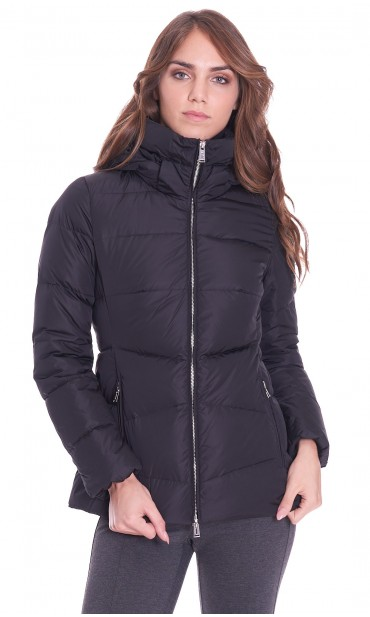 SHORT DOWN JACKET ADD WITH HOOD BLACK