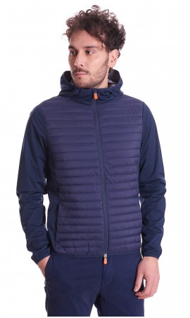 SAVE THE DUCK MIBAX SHORT JACKET BLUE WITH HOOD