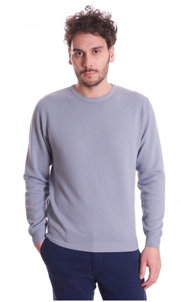 ROUNDNECK TEXTURED SWEATER BROWN'S PURE COTTON