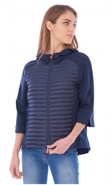 SAVE THE DUCK LIGHT FLARED DOWN JACKET WITH HOOD BLUE